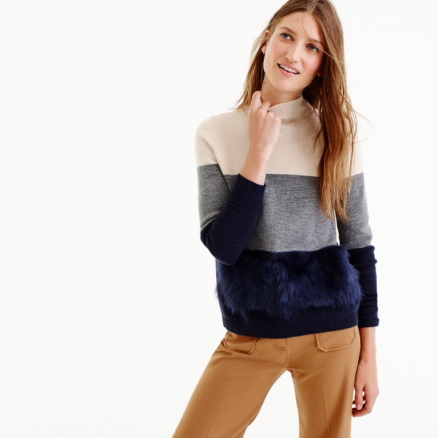 Collection colorblock shearling sweater