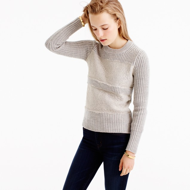 Collection lace stripe crewneck sweater
