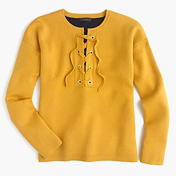 Collection bonded lace-up sweater