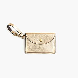 Coin purse in gold Italian leather