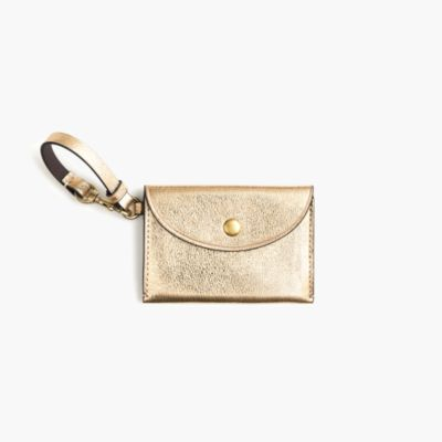 Coin purse in metallic Italian leather
