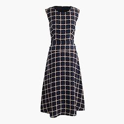 A-line dress in silk-twill windowpane print