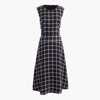 A-line dress in silk-twill windowpane print