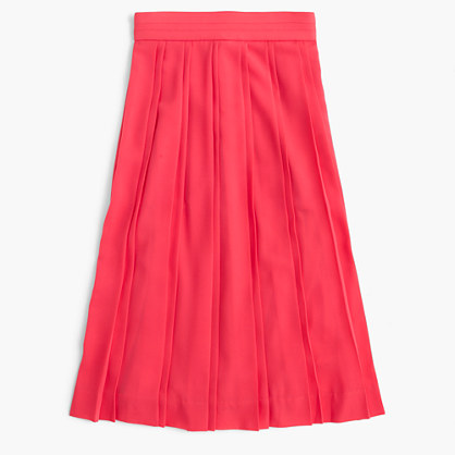 Petite double-pleated midi skirt