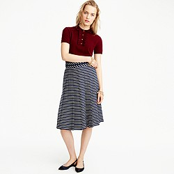 Petite double-pleated midi skirt in stripe