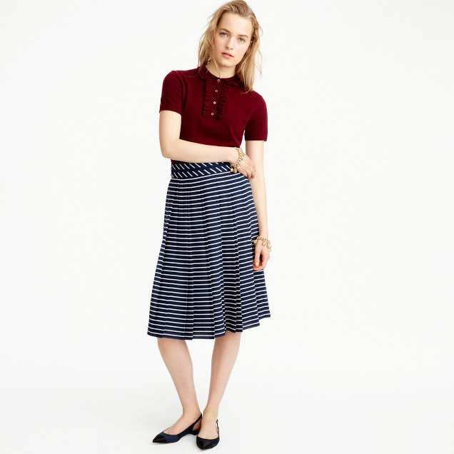 Double-pleated midi skirt in stripe
