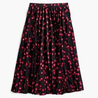 Pleated midi skirt in cherry print