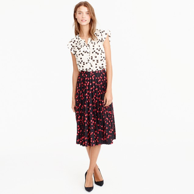 Pleated Midi Skirt In Cherry Print : Women's Skirts | J.Crew