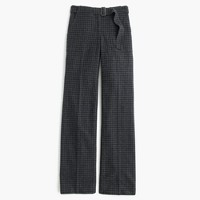 Collection belted pant in checkered Italian wool