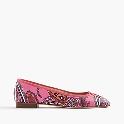 Kiki leather ballet flats in paisley