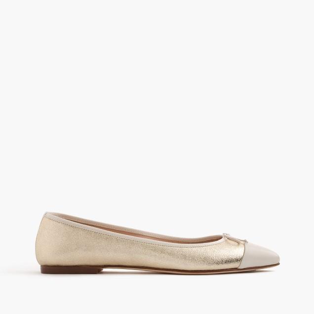 Gemma cap-toe flats in metallic leather