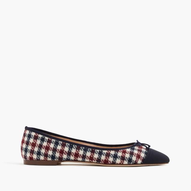 Gemma cap-toe flats in tweed