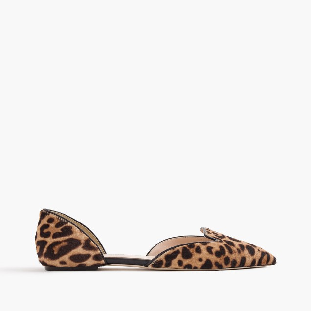 Sadie loafer flats in leopard calf hair