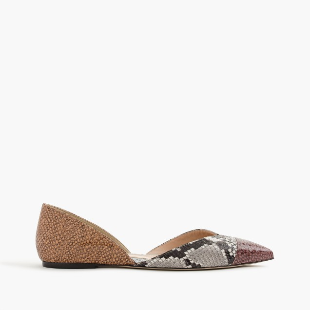 Sadie flats in snakeskin-printed leather
