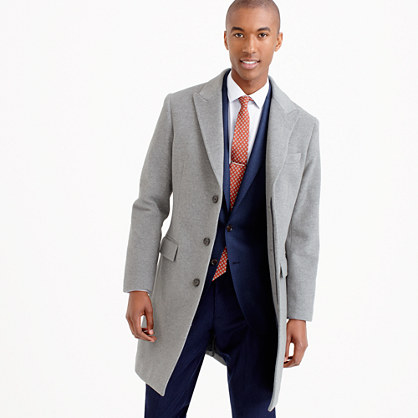 Ludlow peak-lapel topcoat in Italian wool-cashmere with Thinsulate®