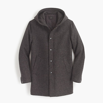 Hooded coach's jacket in wool