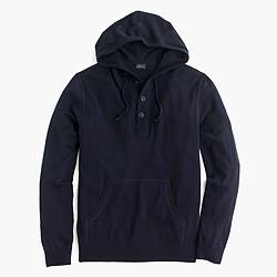 Lightweight Italian cashmere henley hoodie