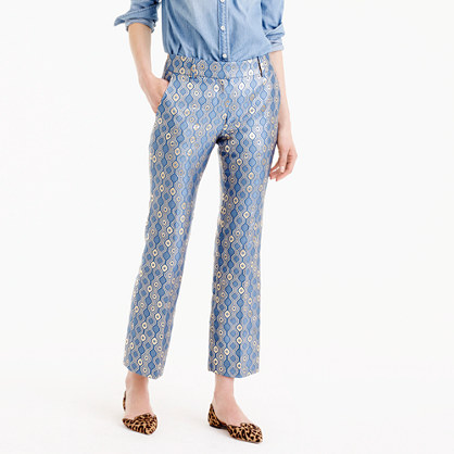 Collection cropped pant in Italian geometric jacquard