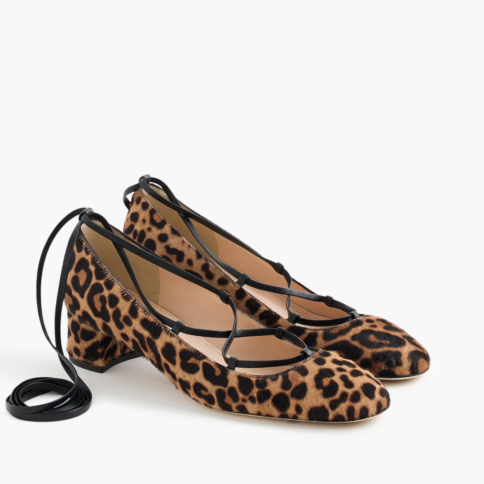 Lace-Up Heels In Leopard Calf Hair : Women's Heels | J.Crew