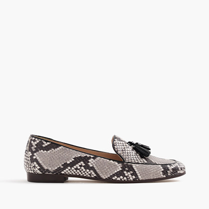 Charlie tassel loafers in snakeskin-printed leather
