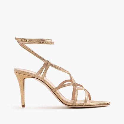 Metallic cross-strap sandals