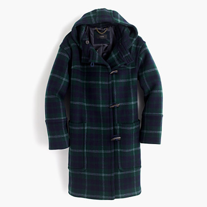 Hooded toggle coat in plaid