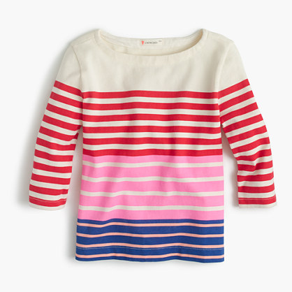 Girls' multistripe boatneck T-shirt
