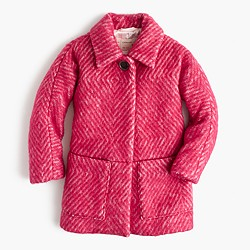 Girls' diamond tweed coat
