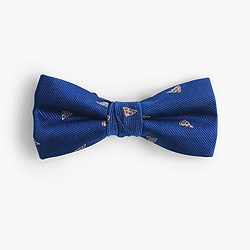Boys' critter silk bow tie in pizza