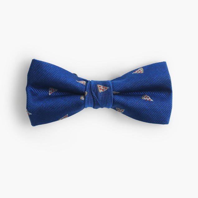 Boys' critter silk bow tie in pizza