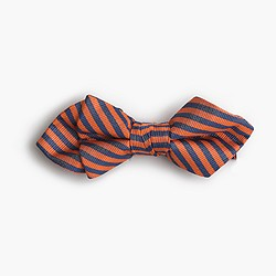 Boys' silk bow tie in orange stripe