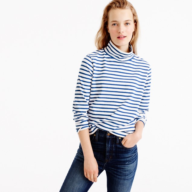 Sailor-stripe funnelneck T-shirt
