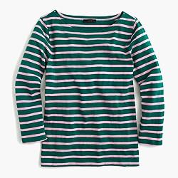 Sailor-stripe boatneck T-shirt