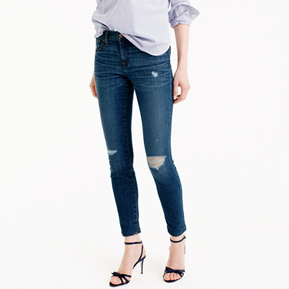Petite distressed toothpick jean in Pamona wash