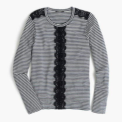 Long-sleeve striped T-shirt with lace