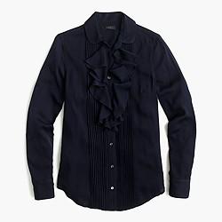 Tuxedo ruffle top in stretch silk georgette