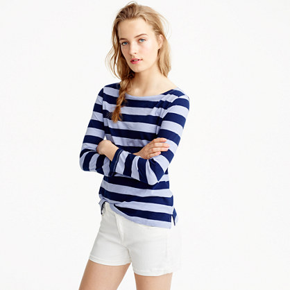 Rugby-stripe boatneck T-shirt