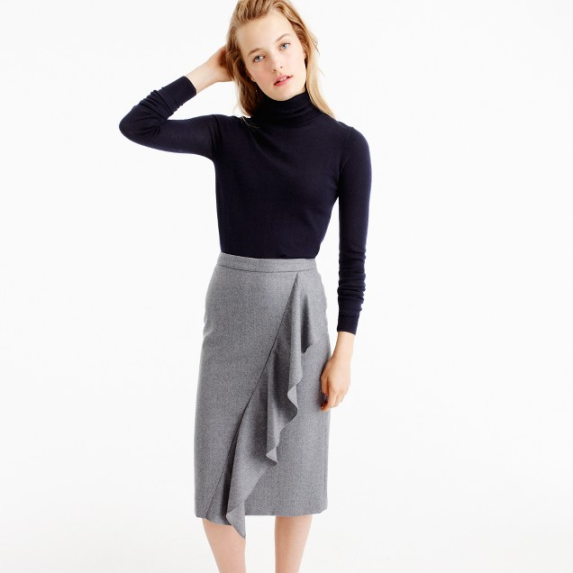 Collection skirt in Italian wool flannel