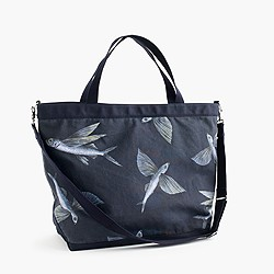 Cotton canvas tote bag in flying fish print