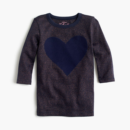 Girls' giant embroidered heart T-shirt