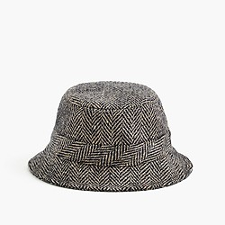 Irish herringbone tweed bucket hat in khaki
