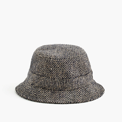 Irish herringbone tweed bucket hat in khaki