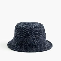 Irish herringbone tweed bucket hat in navy