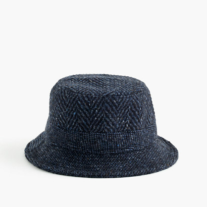 Irish herringbone tweed bucket hat in navy