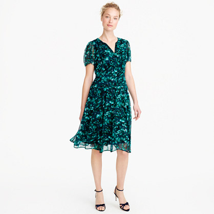 Collection flutter-sleeve dress in Ratti® emerald floral