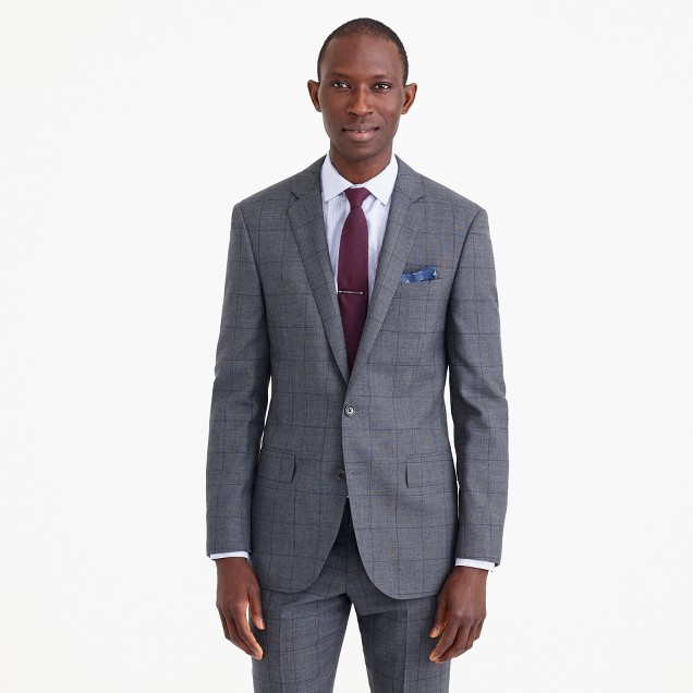 Ludlow suit jacket in windowpane English wool