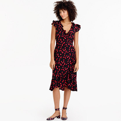 Silk wrap dress in cherry print