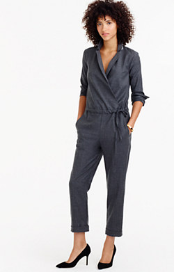 Collection tuxedo jumpsuit in wool flannel