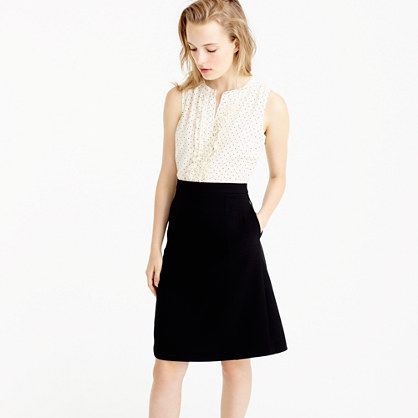 Petite two-piece dress in silk baby dot