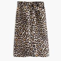 Tie-waist skirt in leopard print